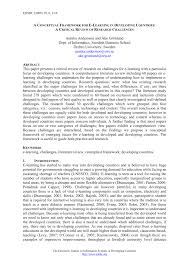Thesis Theoretical Framework A Conceptual Framework For E Learning In Developing Countries A