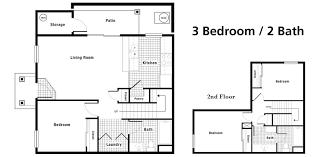 3 Bedroom 2 Bath Floor Plan by Floorplans Crystal Creek Town Homes