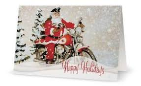 Business Printed Christmas Cards Your Words Motorcycle Santa Harley Personal Business Custom