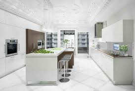 extraordinary white kitchen design with ceramic floor and oven