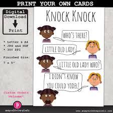 knock knock yodel joke greeting card for kids by awaywiththepixels