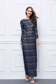 floor length dark navy lace long sleeve evening formal dresses