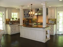 Kitchen Brick Backsplash Kitchen Engaging Country Kitchen French Design With Brick