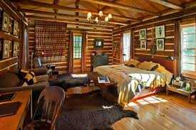 Log Home Bedrooms Fancy Log Home Bedroom Ideas Using Rustic Wood Plank Wall With