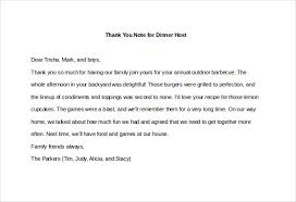 8 thank you note for dinner u2013 free sample example format