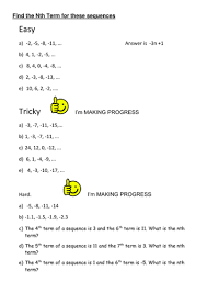 differentiated worksheet nth term by uma07072004 teaching