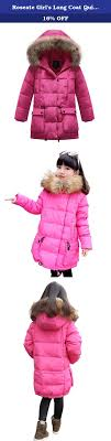 roseate girl s long coat quilted puffer down outerwear faux fur