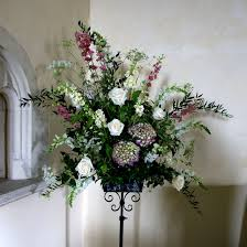 church wedding flowers pedestal arrangement of country style