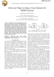 a review paper on space time scheme for mimo system mimo multiple
