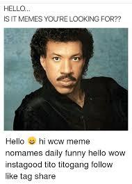 Hello Meme Funny - hello is it memes you re looking for hello hi wcw meme
