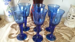 set of six hand blown cobalt blue stemware wine glasses