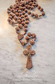 wall rosary antique wall rosary large carved wood by edithandevelyn