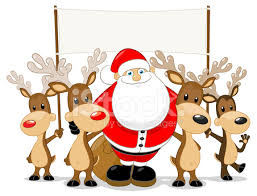 santa and reindeer santa and his reindeer holding a blank sign stock vector