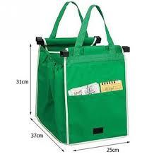 reusable grocery shopping eco bags clip to cart grab bag green as
