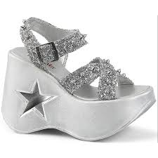 dynamite star womens platform silver sandal gothic womens shoes