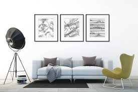 home decor wall posters abstract mountain print art set line drawing print nature art