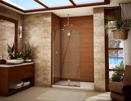 bathroom remodel ideas walk in shower towel shelves on the wall white pattern wall brown wall wooden