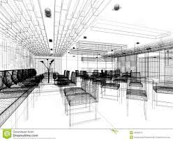 sketch design of interior restaurant stock illustration image