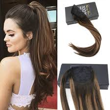 clip in ponytail remy clip in ponytail hair extensions human hair brown