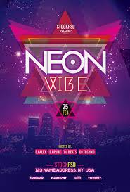 neon vibe free flyer template download free electro party flyer