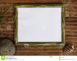 horizontal wooden frame with white page photo background shabby