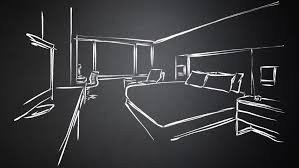 hotel room king size bed interieur animated sketch hand drawn
