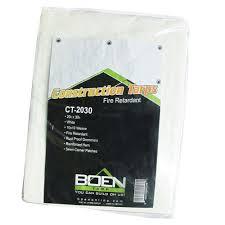 boen 20 ft x 30 ft white fire retardant construction tarp ct