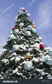large outdoor christmas tree decorated balls stock photo 68476987