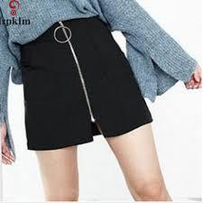 spring 2017 straight mini front zipper women skirts short black