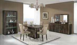 italian walnut high gloss dining room furniture set homegenies