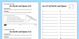 earth and space a z activity sheet worksheet
