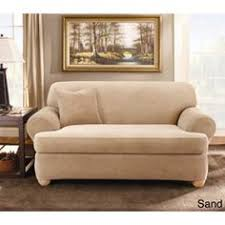 2 piece t cushion sofa slipcover sure fit striped t cushion loveseat slipcover brown sofa