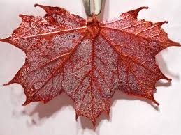 real sugar maple leaf metal filigree ornament