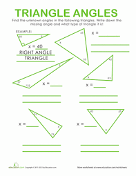 triangle angles worksheet education com