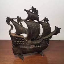 vintage cast iron ship doorstop nautical decor pirate ship