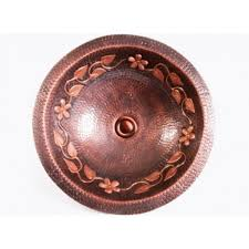 round hammered floral pattern 16 gauge copper undermount drop in