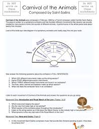 carnival of the animals listening worksheet by brummieresearcher