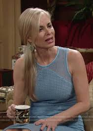 ashley s hairstyles from the young and restless wornontv ashley s blue mixed lace dress on the young and the