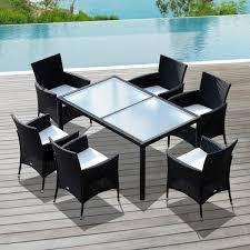 tavoli da giardino rattan outsunny set mobili da esterno tavolo con piano in vetro con 6