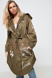 anita green embroidered parka jacket green anita green