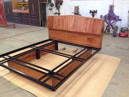 Heavy Duty Platform Bed Frames Custom Made Headboard And Bed Frame Wood And Steel Furniture