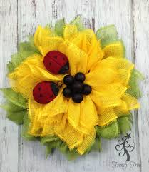 sunflower mesh wreath sunflower ladybug wreath 2016 trendy tree decor