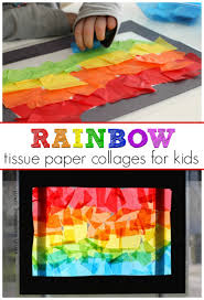 fun rainbow craft tissue paper suncatcher collages where