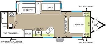 Travel Trailers With Bunk Beds Floor Plans T2550 Evo Travel Trailers Triple Bunk U Table 1 Slide