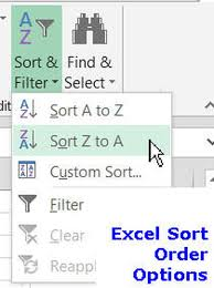 sort order in excel spreadsheets