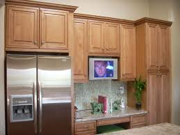 kitchen maid cabinet colors kraft maid maple cabinets in ginger finish built in refrigerator
