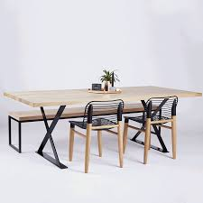 designer alexandria black steel industrial dining table oak