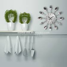 wholesale modern kitchen wall clock sliver cutlery clocks spoon