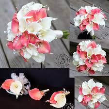 calla bouquets tropical coral and ivory calla bouquet set real touch