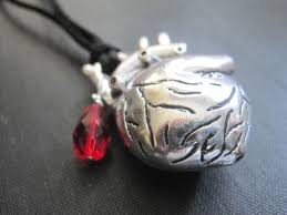 gothic heart necklace images Anatomical heart blood drop cord goth necklace vamps jewelry jpg